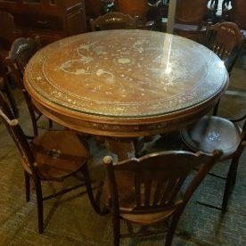Bộ bàn ăn tròn gỗ cũ 6 ghế
