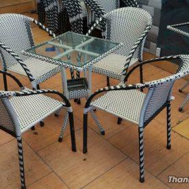 bàn ghế cafe giả mây