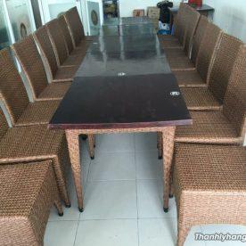 bàn ghế cafe giả may
